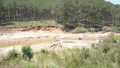 industrial machine extracts sand from river against forest 54199793