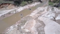 river sand extraction equipment works at quarry during day 54199795