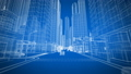 Abstract City Grid Buildings and Cars Moving on the Streets Seamless. Blueprint Style. Looped 3d 54204963