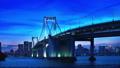 夕暮れ時のレインボーブリッジとビル群 54207057