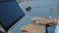 Close-Up, Indian Student Hands Type Laptop Keyboard Text on the Background of the Ship Sailing on 54254242
