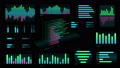 Several colored Bar charts on a black background 54259003