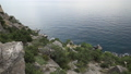 Seascape from Caraul-Oba mountain. Juniper bushes on rock. Sudak, Crimea. 54286852