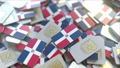 Pile of SIM cards with flag of Dominican Republic. Dominicana mobile telecommunications related 54337310