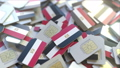 Many SIM cards with flag of Egypt, Egyptian mobile telecommunications related 3D animation 54337315