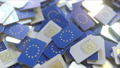 Multiple SIM cards with flag of the EU. European mobile telecommunications conceptual 3D animation 54337320
