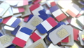Pile of SIM cards with flag of France. French mobile telecommunications related conceptual 3D 54337321