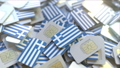 Multiple SIM cards with flag of Greece. Greek mobile telecommunications conceptual 3D animation 54352139