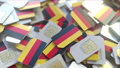 SIM cards with flag of Germany. German cellular network related conceptual 3D animation 54352410
