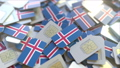 SIM cards with flag of Iceland. Icelandic cellular network related conceptual 3D animation 54352412