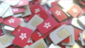 SIM cards with flag of Hong Kong. Cellular network related conceptual 3D animation 54353127