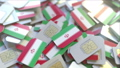Multiple SIM cards with flag of Iran. Iranian mobile telecommunications conceptual 3D animation 54353129