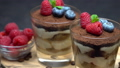Classic tiramisu dessert with blueberries and raspberries in a glass on wooden cutting board 54368696