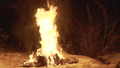 View of flaming capmfire burning with sparks at night. FullHD 54420337