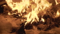 View of flaming capmfire burning with sparks at night. FullHD 54423001