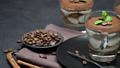 Classic tiramisu dessert in a glass on dark concrete background 54426825