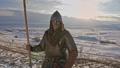 Portrait of medieval viking warrior in armor. 54531396