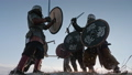 Warriors of vikings are fighting during attack at winter time. 54531399