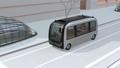 交差点を通過しバス停に到着する自動運転バスのアニメーション 54554542