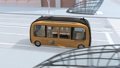 交差点を通過しバス停に到着する自動運転バスに乗客が乗り込むアニメーション 54554544
