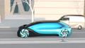 在晚上在路上行駛的自動駕駛汽車的動畫。 54554546