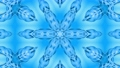 Abstract snowflake in motion of the blue lines of ribbons on a blue background. Kaleidoscopic effect 54557246