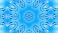 Abstract snowflake in motion of the blue lines of ribbons on a blue background. Kaleidoscopic effect 54557259