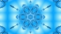 Abstract snowflake in motion of the blue lines of ribbons on a blue background. Kaleidoscopic effect 54557261