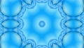 Abstract snowflake in motion of the blue lines of ribbons on a blue background. Kaleidoscopic effect 54557263