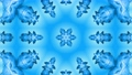 Abstract snowflake in motion of the blue lines of ribbons on a blue background. Kaleidoscopic effect 54557276