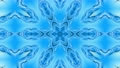 Abstract snowflake in motion of the blue lines of ribbons on a blue background. Kaleidoscopic effect 54557297