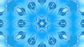 Abstract snowflake in motion of the blue lines of ribbons on a blue background. Kaleidoscopic effect 54557299