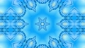 Abstract snowflake in motion of the blue lines of ribbons on a blue background. Kaleidoscopic effect 54557308