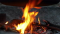 Camp fire under a pot 54557817