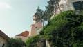 Czech Mikulov Castle Tower, Trees on Rock on Sunny Summer Day. Panning 4K Shot 54586488