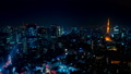 2019 大都会 東京夜景 タイムラプス スカイツリーと東京タワーを同時に望む定番風景 ティルト 54656555