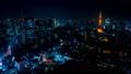 2019 大都会 東京夜景 タイムラプス スカイツリーと東京タワーを同時に望む定番風景 fix 54656556