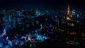 2019 大都会 東京夜景 タイムラプス スカイツリーと東京タワーを同時に望む定番風景 パン 54657497