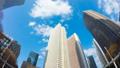 東京 新宿高層ビル街 タイムラプス 超ワイド 魚眼で見上げる摩天楼の青空と雲 ズームアウト  54660591