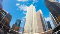 東京 新宿高層ビル街 タイムラプス 超ワイド 魚眼で見上げる摩天楼の青空と雲 パン 54660595