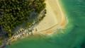 Aerial View of paradise white sand beach and azure sea on tropical Daku Island in Siargao 54829341