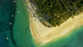 Aerial View of paradise white sand beach and azure sea on tropical Daku Island in Siargao 54829343