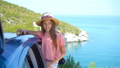 Little girl on vacation travel by car background beautiful landscape 54987817