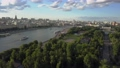 Moscow scene with river, park and bridge. Aerial view 55055386