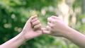 hands hook each other's little finger on nature ba 55084575