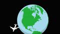 Alpha通道 - 圍繞旋轉地球飛行的飛機縮小 55501813
