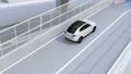 高速道路ETC料金所を通過して本線に合流する白色SUVのアニメーション 55540967