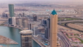 Panoramic aerial view of business bay towers in Dubai at evening timelapse. 55919111