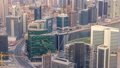 Panoramic aerial view of business bay towers in Dubai at evening timelapse. 55919112
