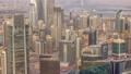 Panoramic aerial view of business bay towers in Dubai at evening timelapse. 55919113